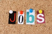 The word Jobs in cut out magazine letters