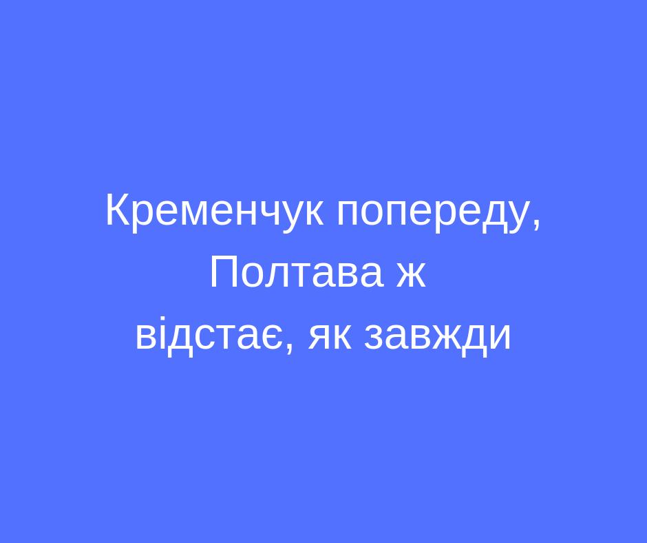 Кременчук попереду, Полтава ж відстає, як завжди