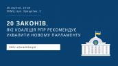 20 законів, які Коаліція РПР рекомендує ухвалити новому Парламенту