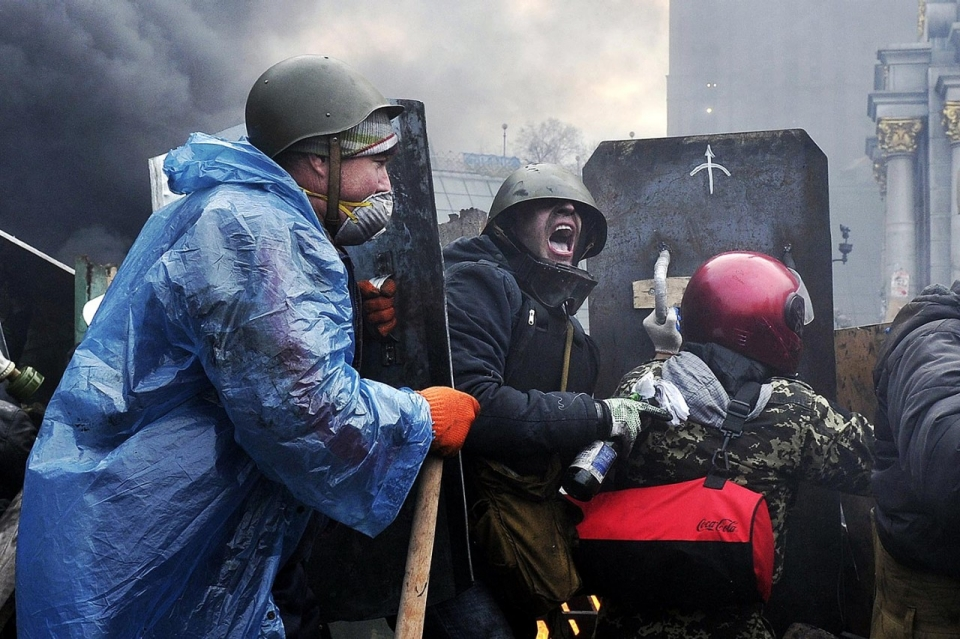 19 лютого на барикадах Майдану. Фото: Getty Images.