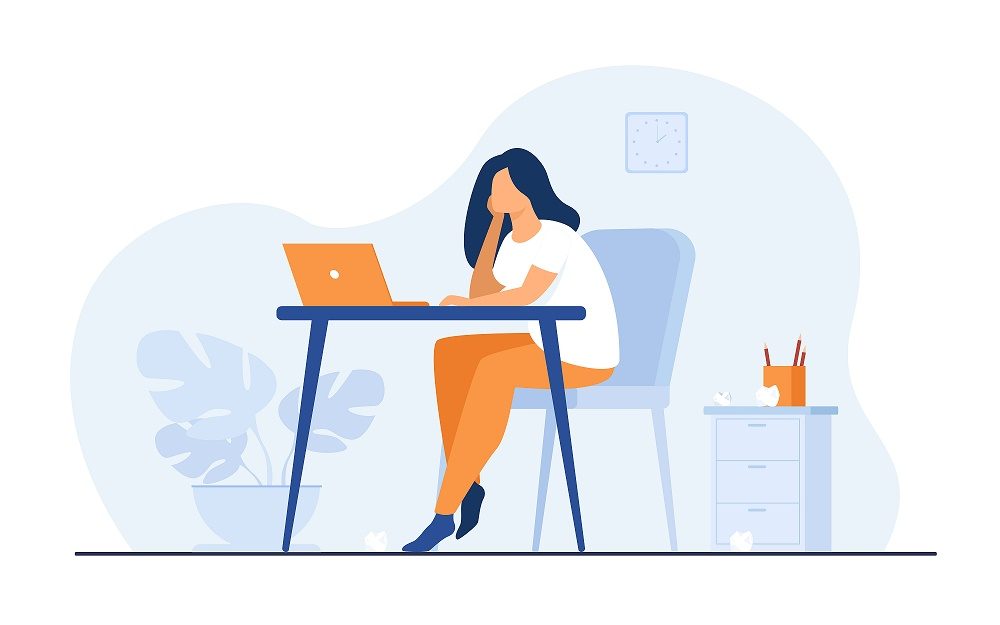 Cartoon exhausted woman sitting and table and working