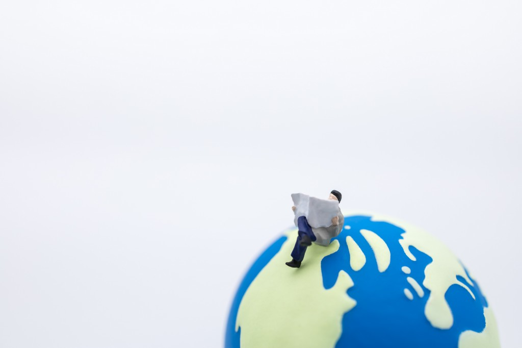 Business, Global and Education Concept. Close up of businessman