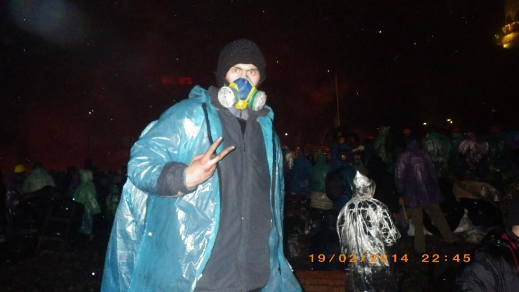 Тарас Матвіїв 19 лютого на барикадах Майдану.