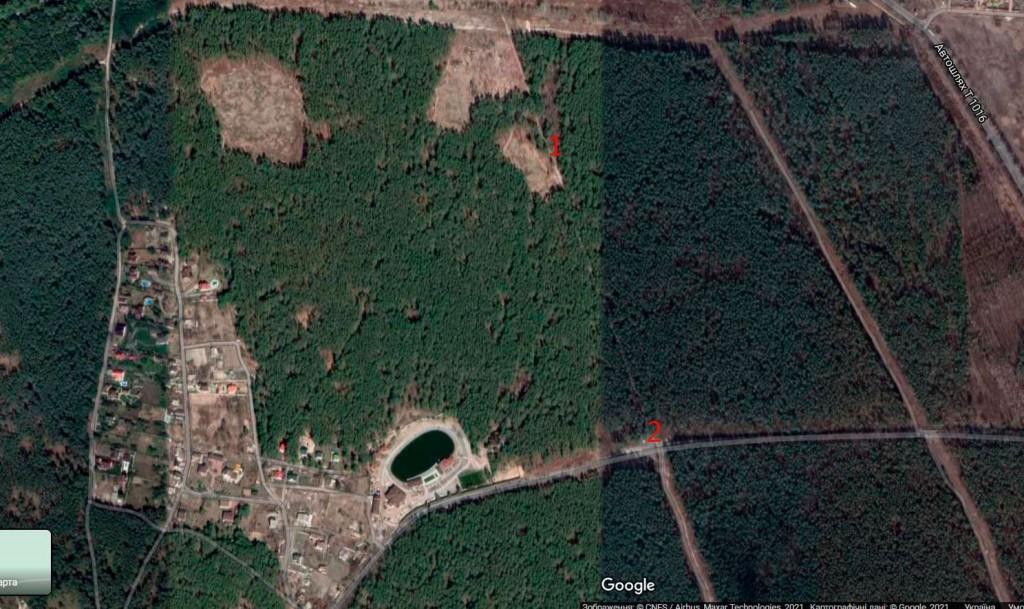 1 - місце смерті Юрія Вербицького в лісі поблизу с.Гнідин. 2- місце, де стоїть пам'ятник Юрію Вербицькому біля асфальтної дороги, що веде до Гнідина.